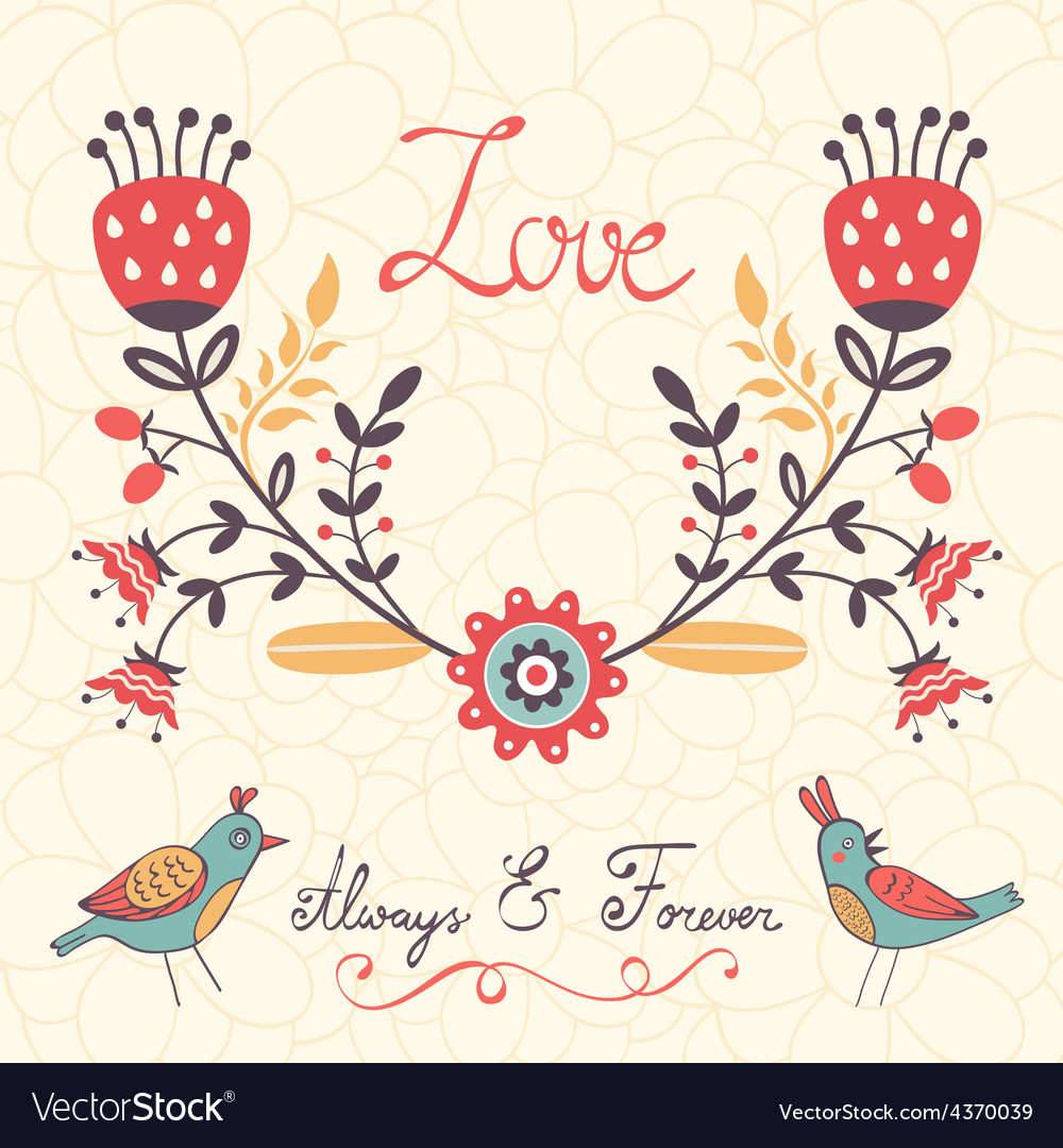 Elegant love card with birds and floral wreath vector | Price: 1 Credit (USD $1)