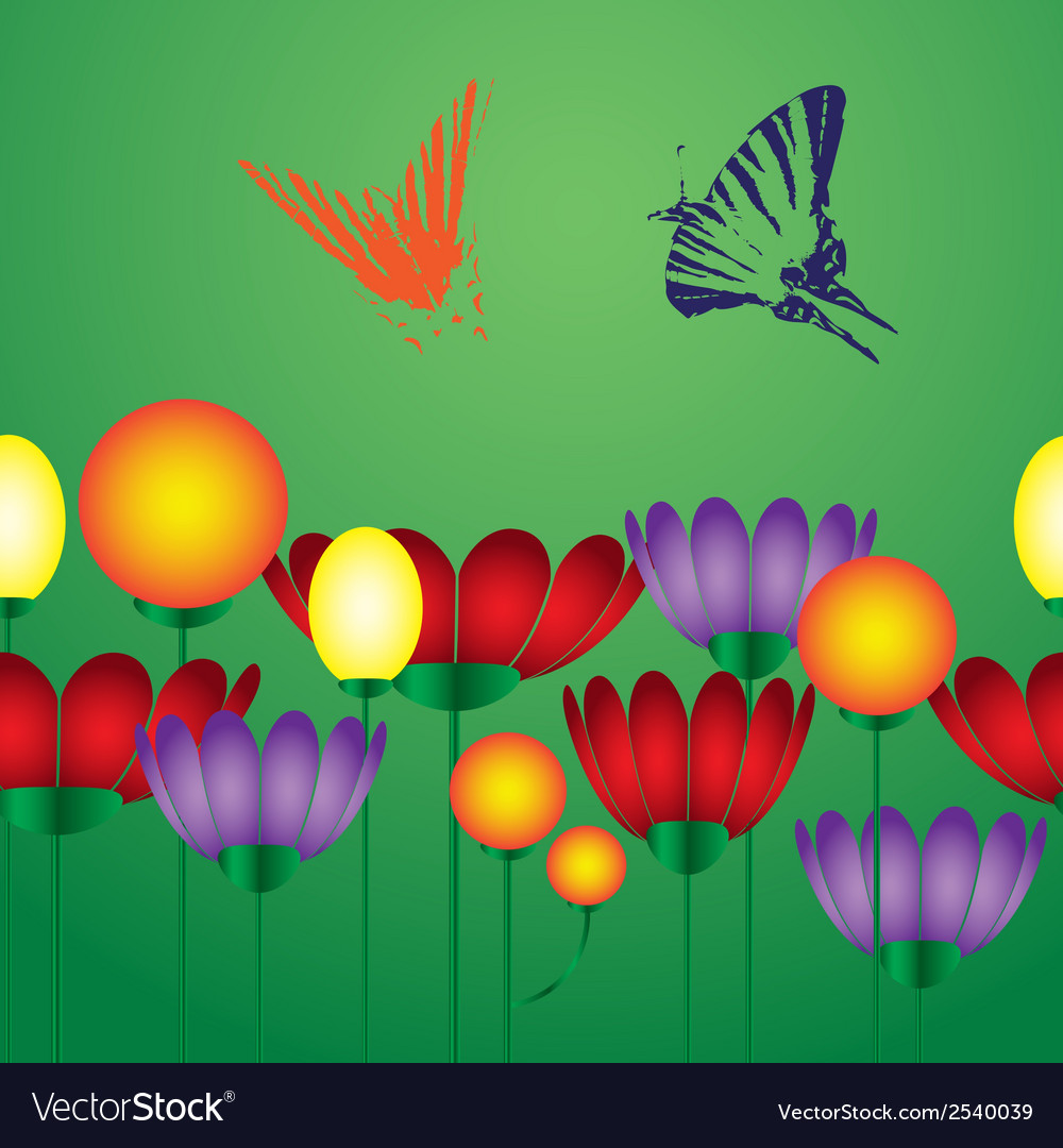 Flowers and butterfly eps10 vector | Price: 1 Credit (USD $1)