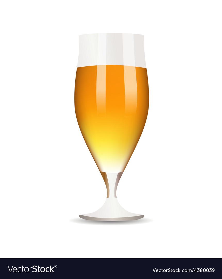 Glass with beer on white background vector | Price: 1 Credit (USD $1)