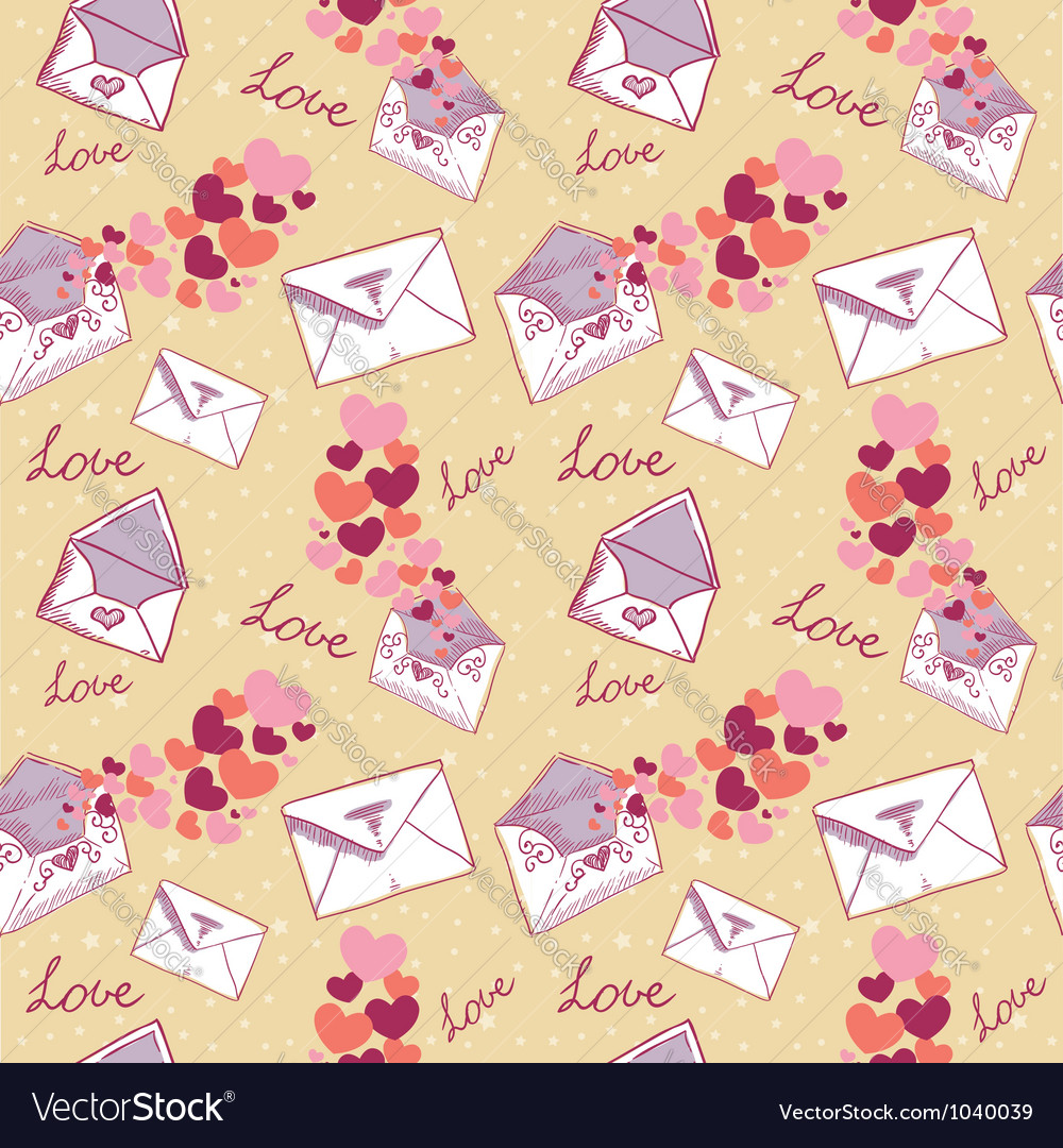 Love letter valentine seamless texture vector | Price: 1 Credit (USD $1)