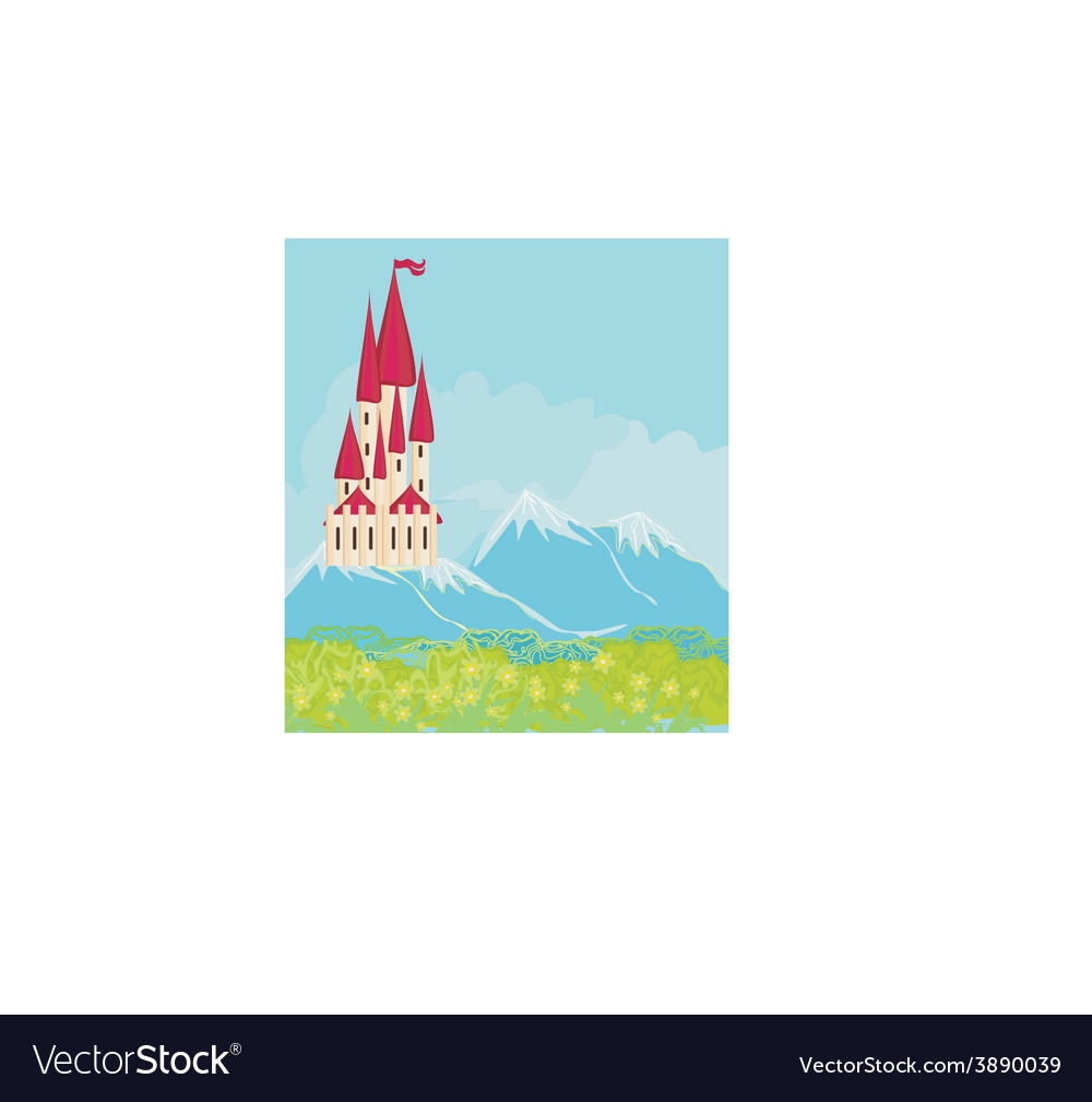 Panorama with medieval castle vector | Price: 1 Credit (USD $1)