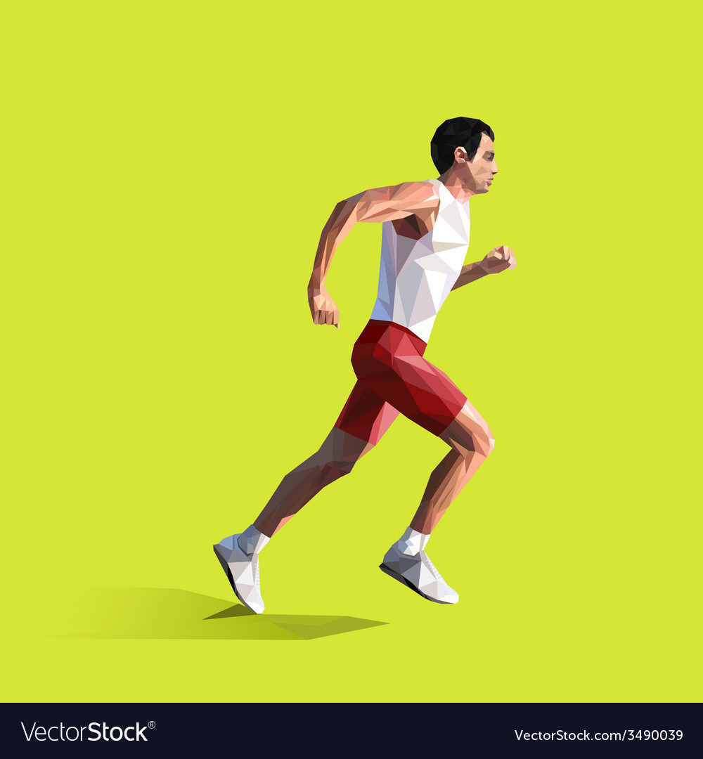 Polygonal running man geometric vector | Price: 1 Credit (USD $1)