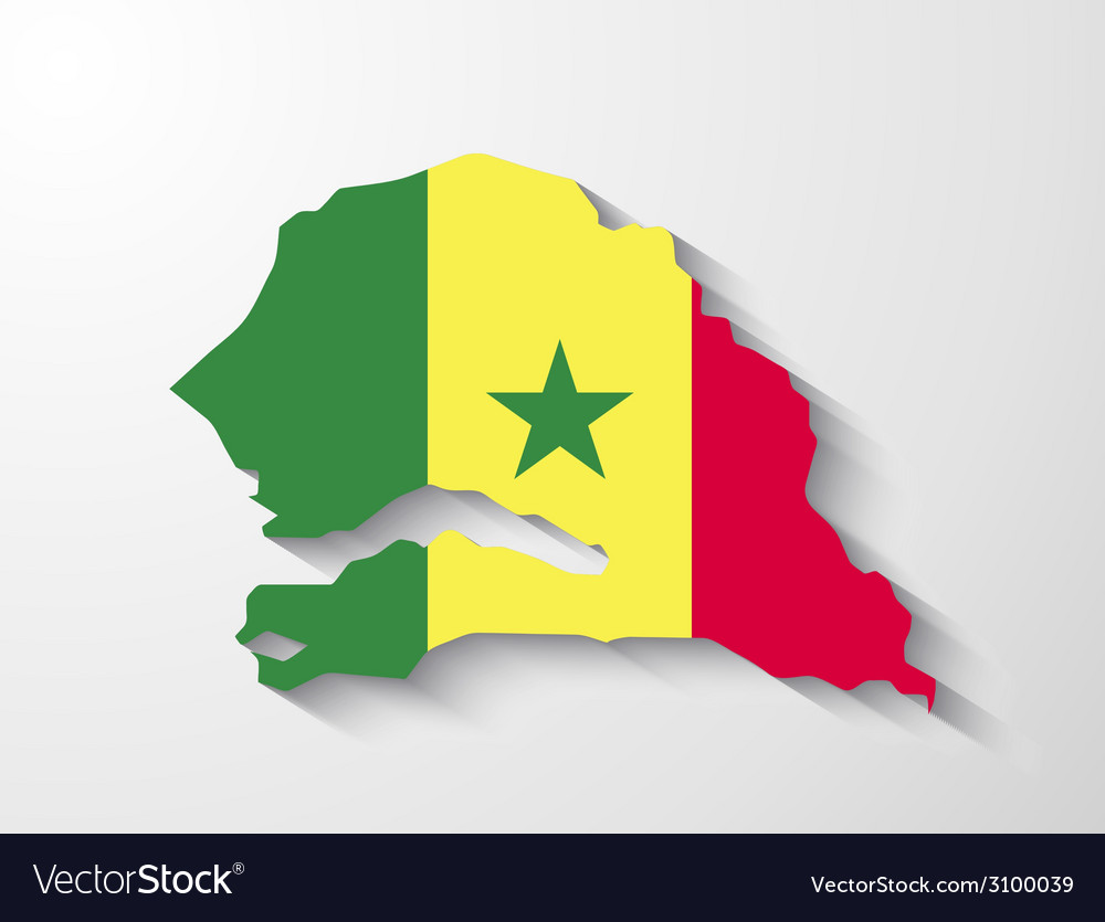 Senegal map with shadow effect presentation vector | Price: 1 Credit (USD $1)