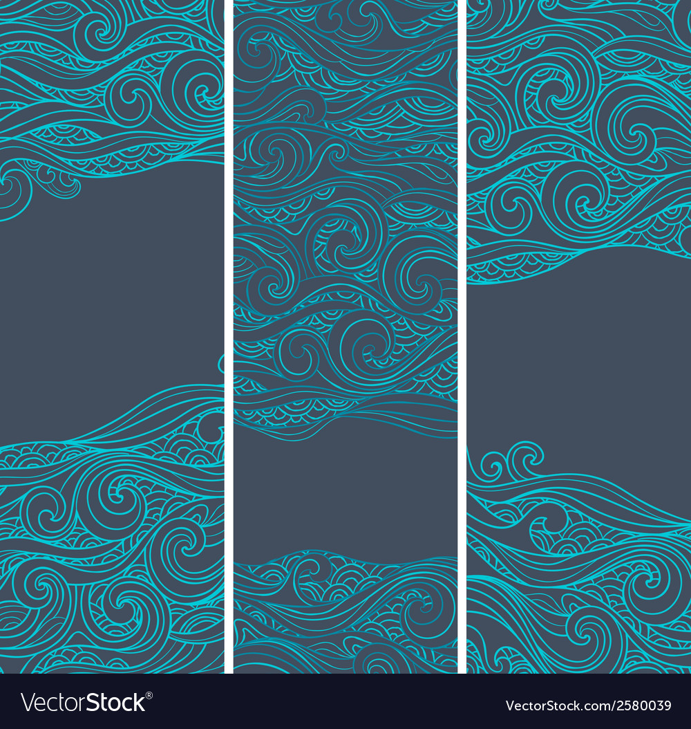 Vintage set of banners with ethnic waves vector | Price: 1 Credit (USD $1)