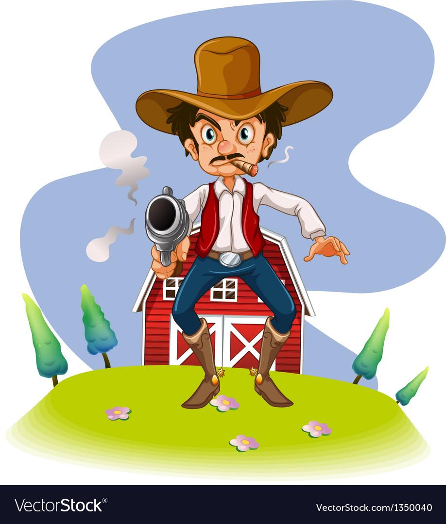 A cowboy with a gun vector | Price: 1 Credit (USD $1)