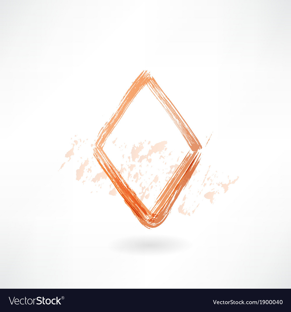 Diamonds card grunge icon vector | Price: 1 Credit (USD $1)