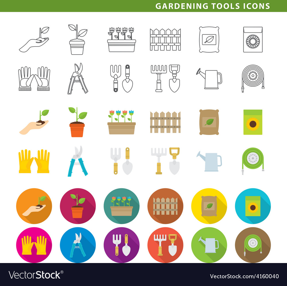 Gardening tools icons low vector