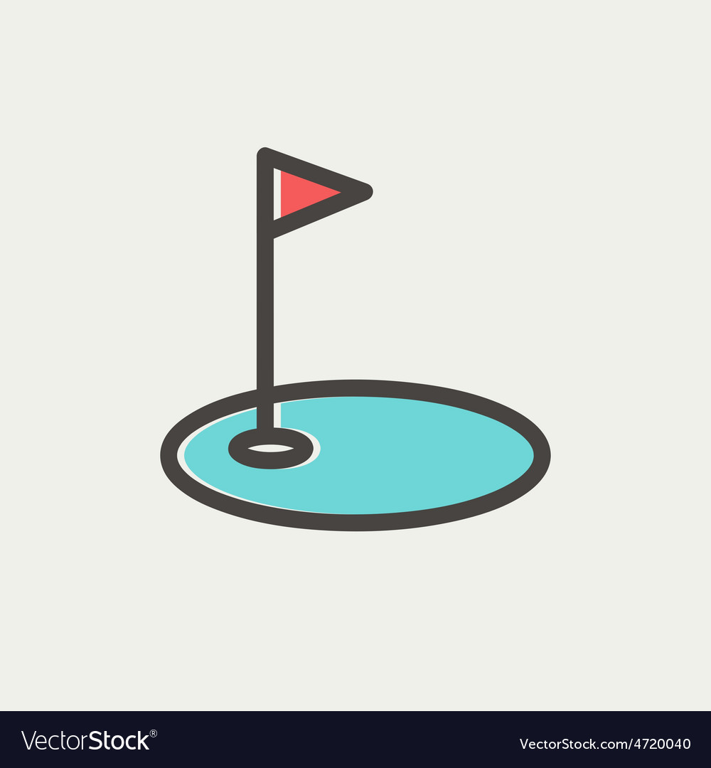 Golf flag in hole thin line icon vector | Price: 1 Credit (USD $1)