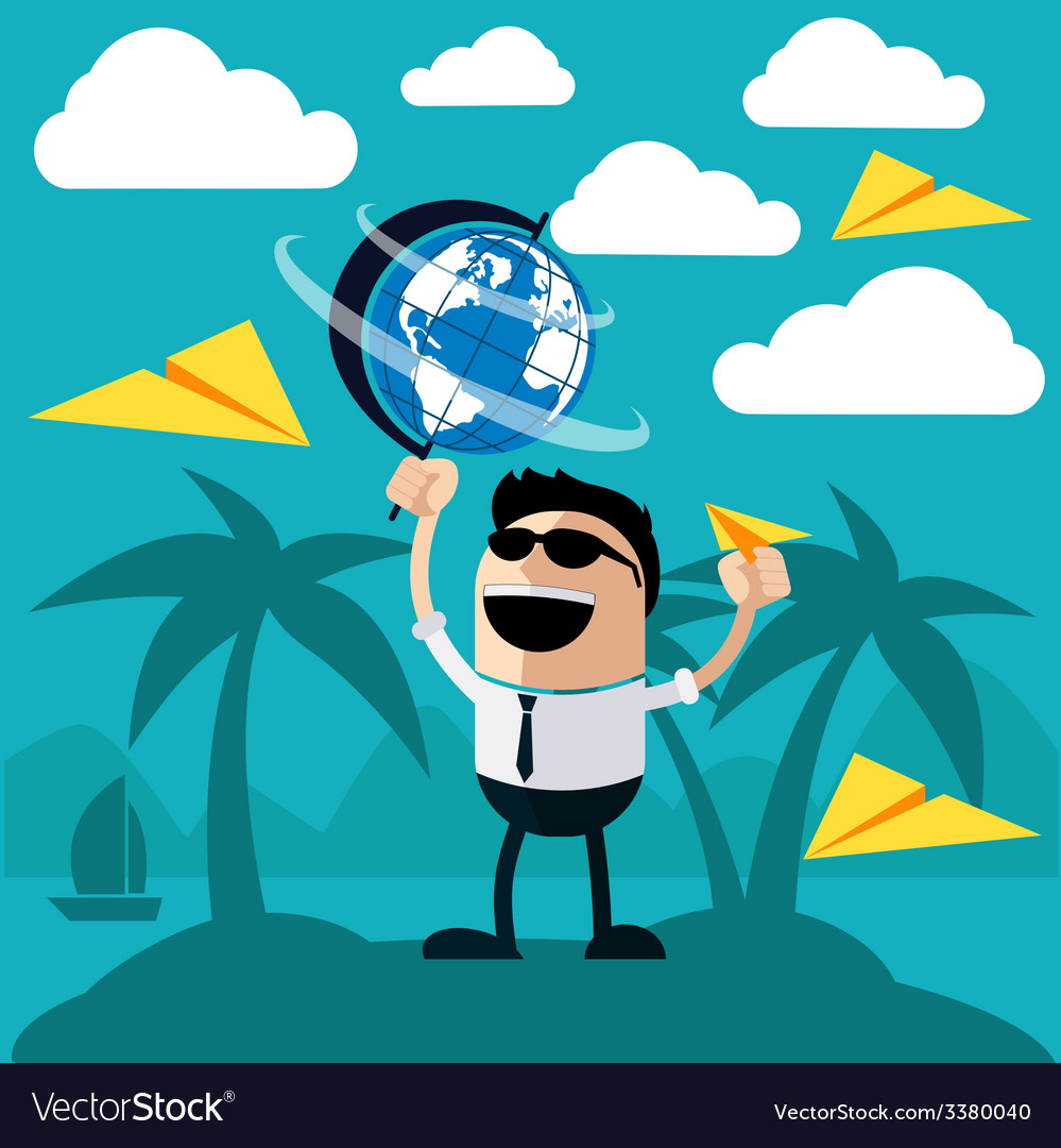 Happy man stands on island of palm trees vector   Price: 1 Credit (USD $1)
