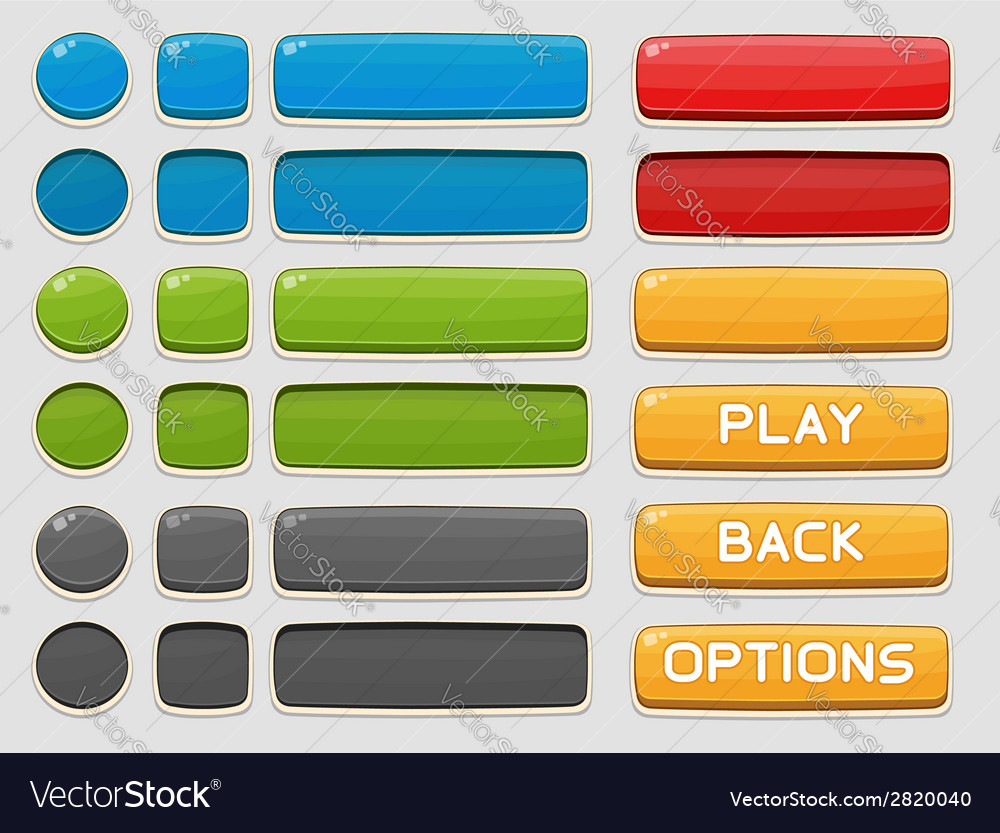 Interface buttons set for games or apps vector | Price: 1 Credit (USD $1)