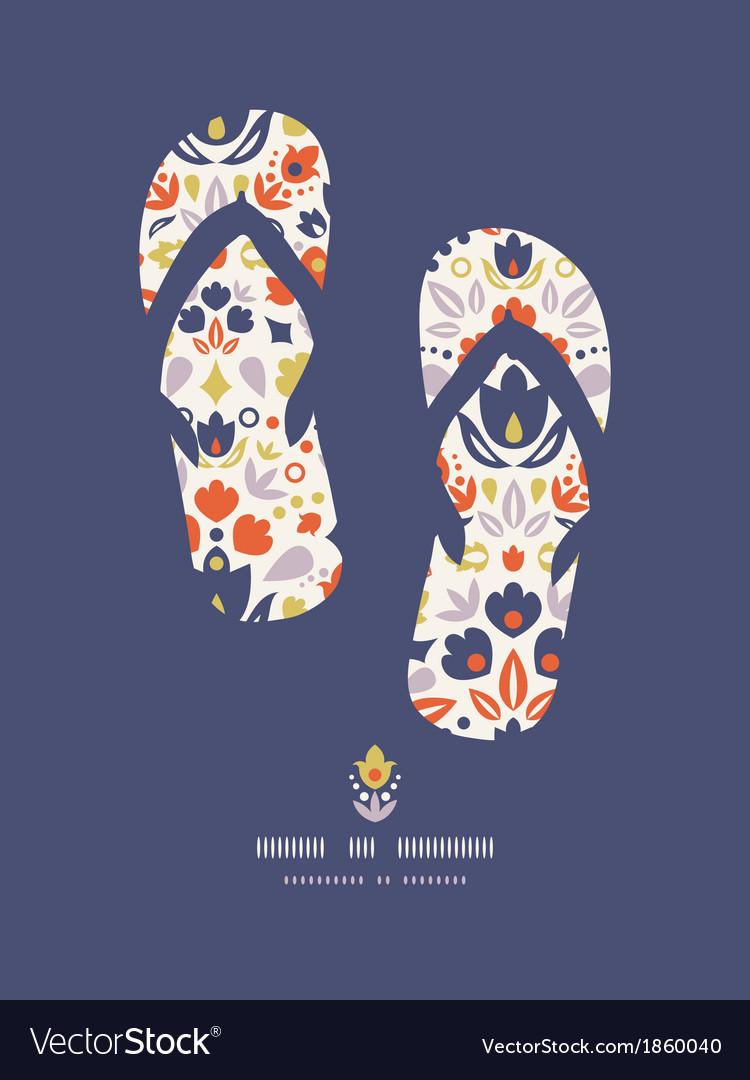 Ornamental folk tulips flip flops pattern vector | Price: 1 Credit (USD $1)