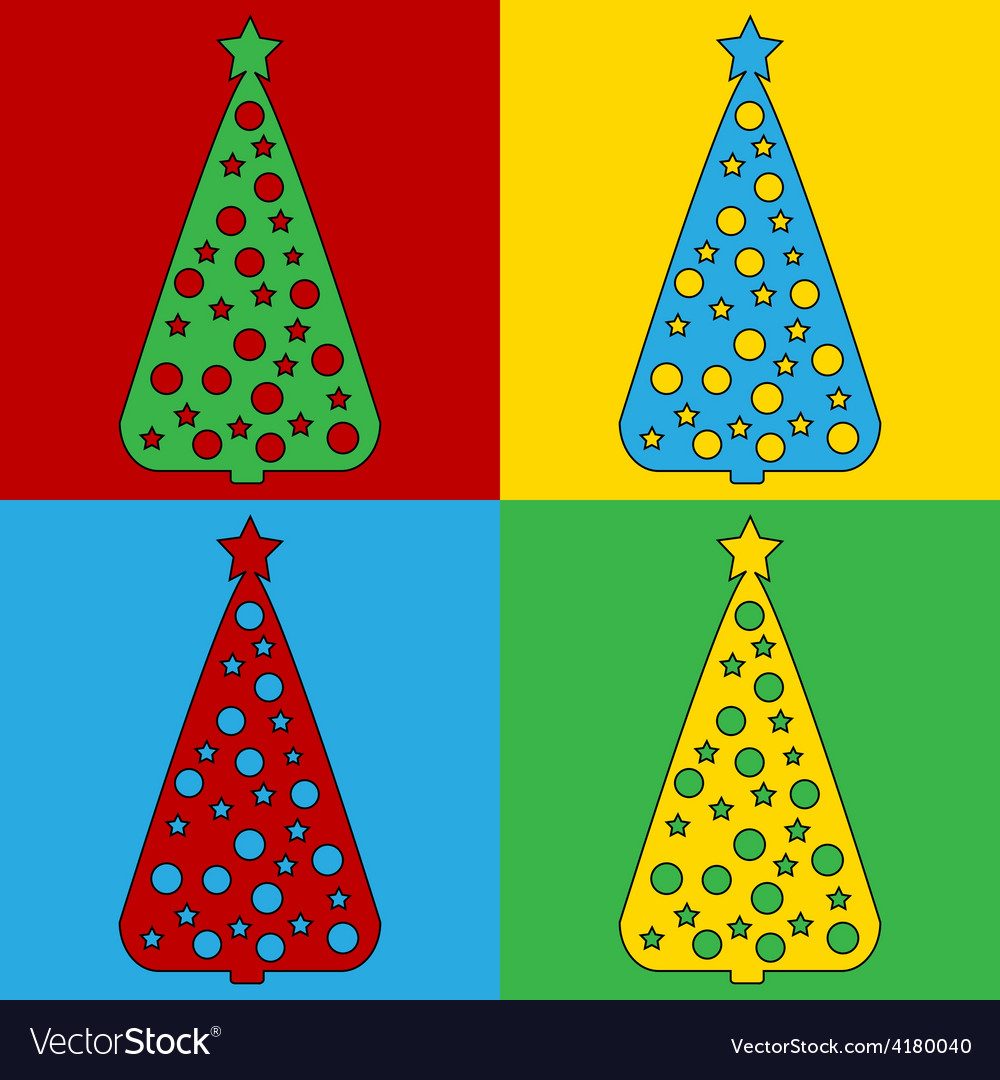 Pop art christmas tree icons vector | Price: 1 Credit (USD $1)