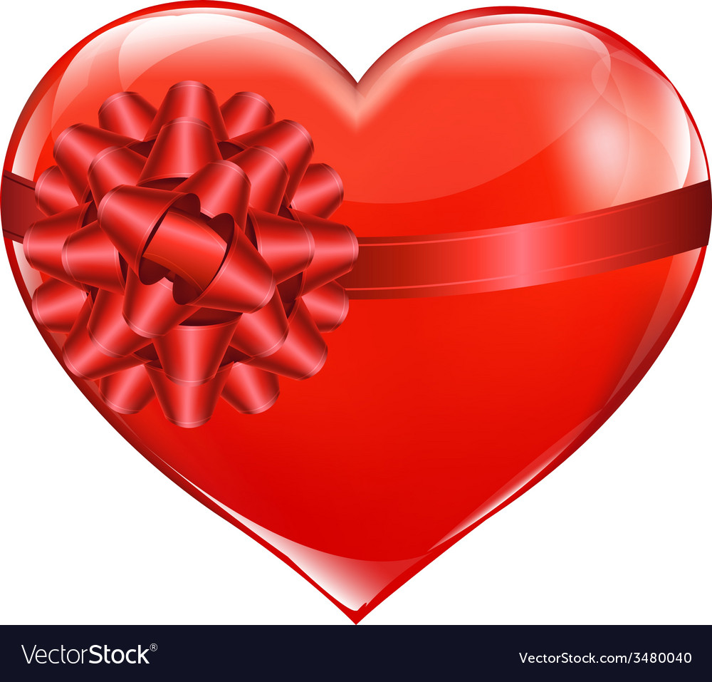 Red heart with bow vector | Price: 1 Credit (USD $1)