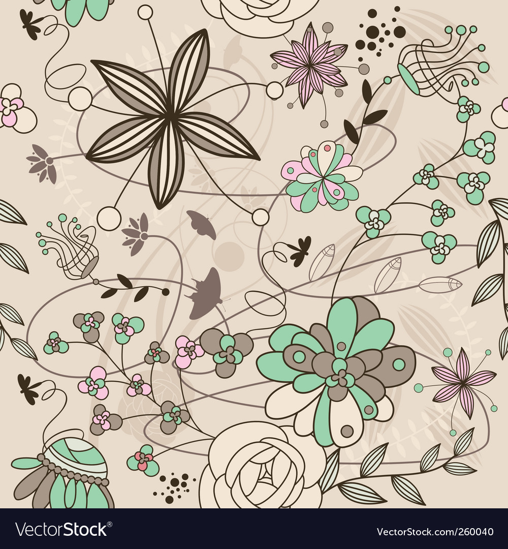 Retro floral background vector | Price: 1 Credit (USD $1)