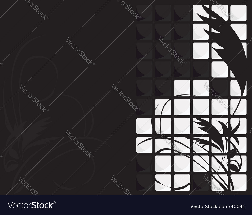 Black white floral tile background vector | Price: 1 Credit (USD $1)