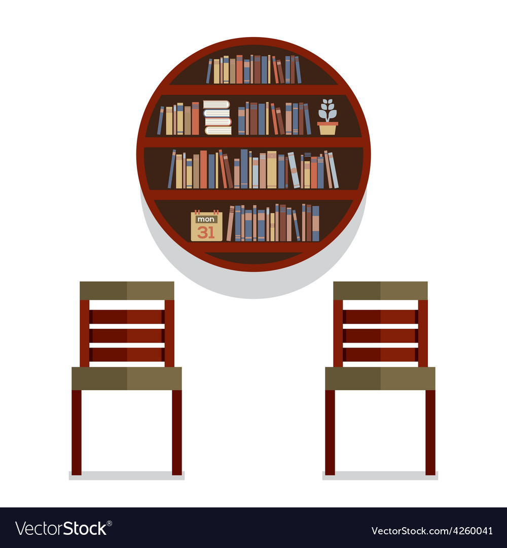 Chairs with round bookshelf on wall vector | Price: 1 Credit (USD $1)