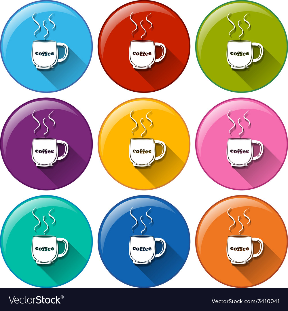 Circle buttons with cups of coffee vector | Price: 1 Credit (USD $1)