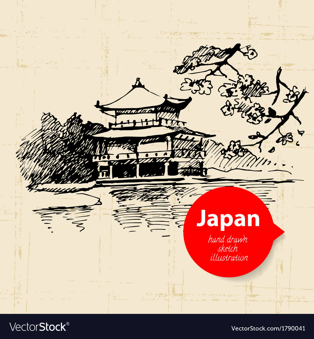 Hand drawn japanese sketch background vector | Price: 1 Credit (USD $1)