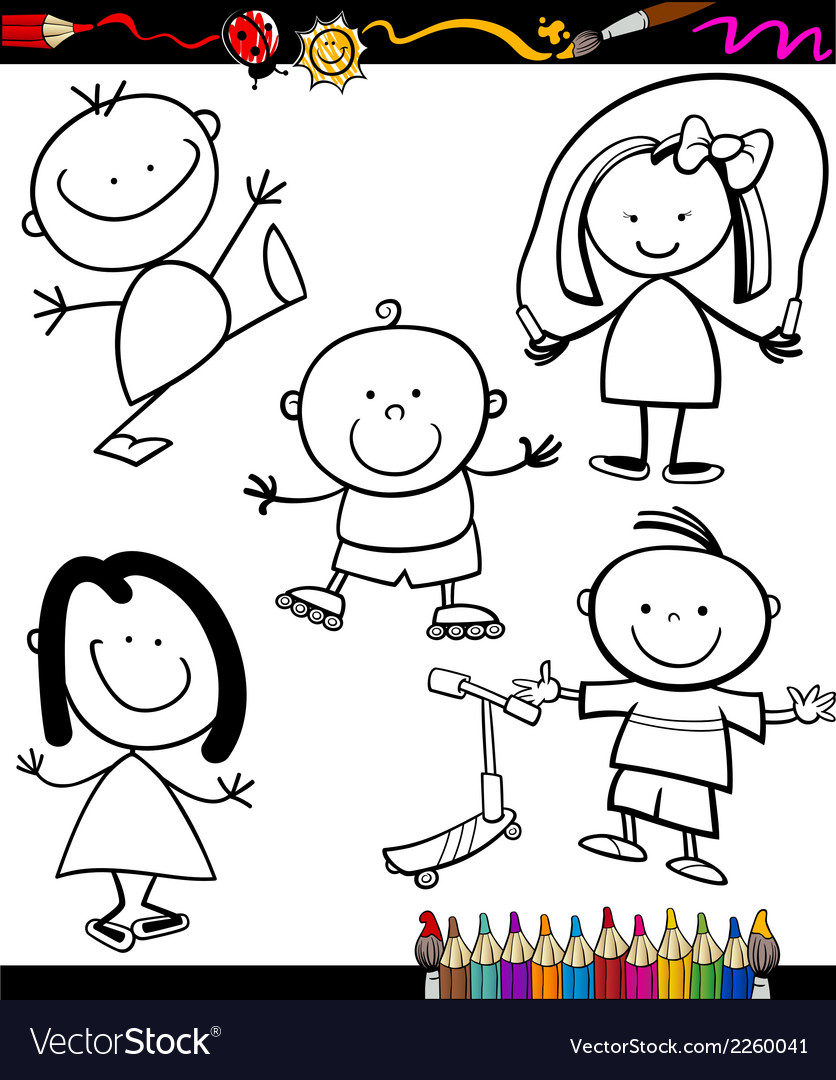 Happy kids cartoon coloring book vector | Price: 1 Credit (USD $1)