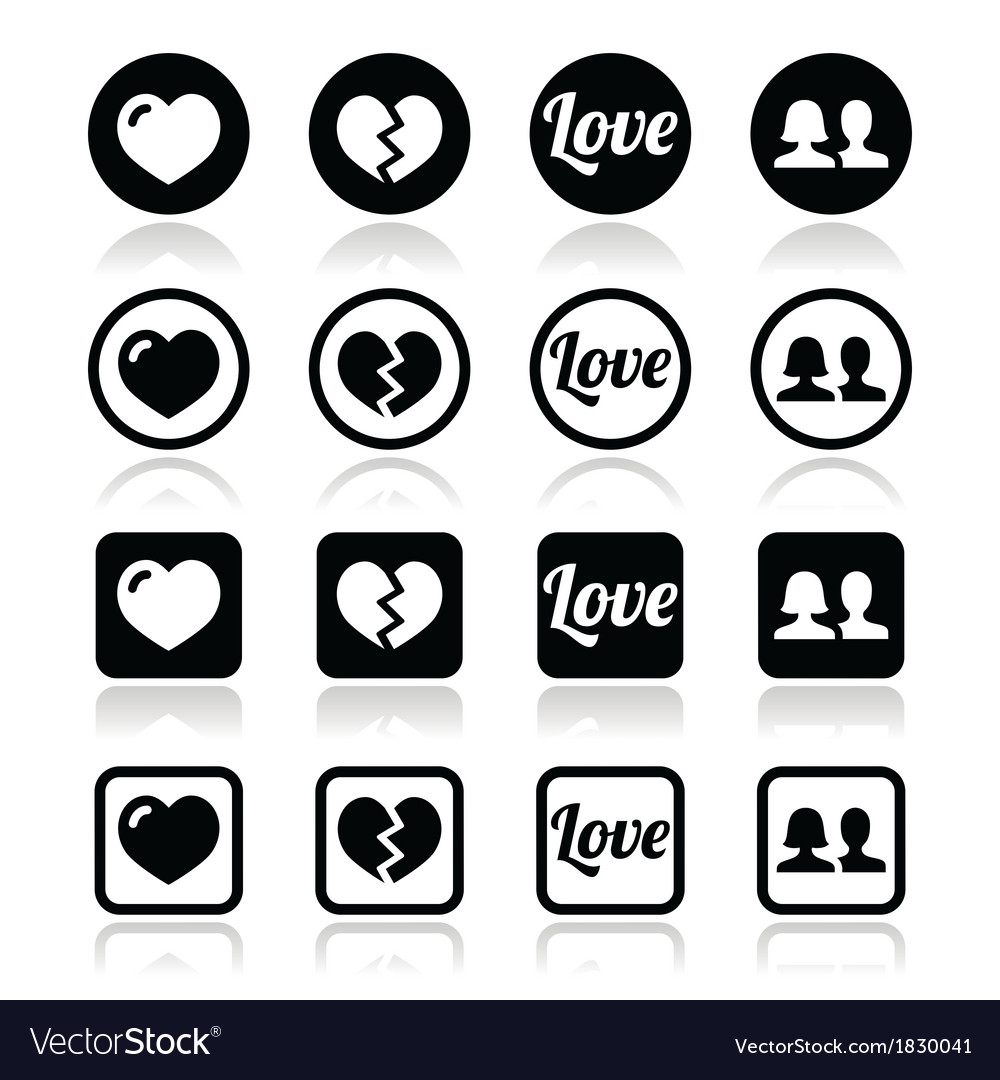 Love heart couple icons for valentines day vector | Price: 1 Credit (USD $1)