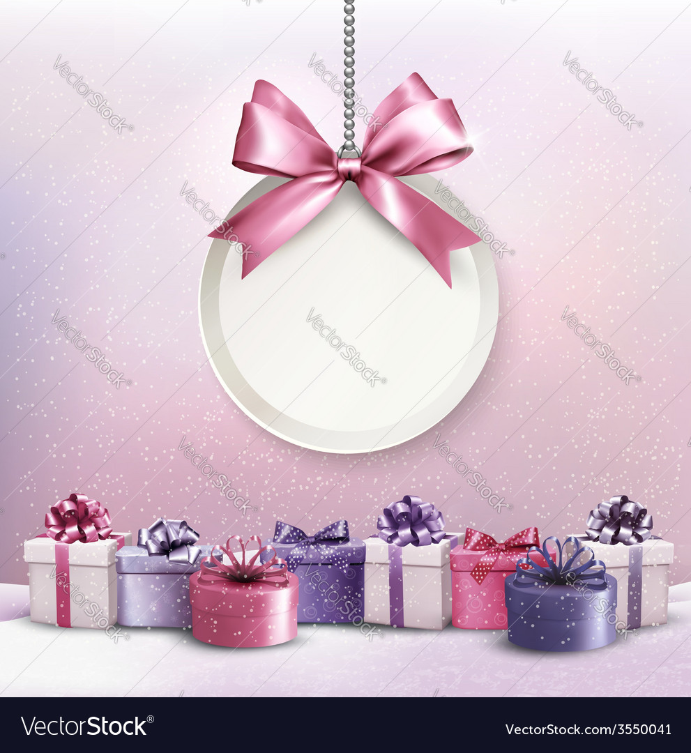 Merry christmas card with a ribbon and gift boxes vector | Price: 3 Credit (USD $3)