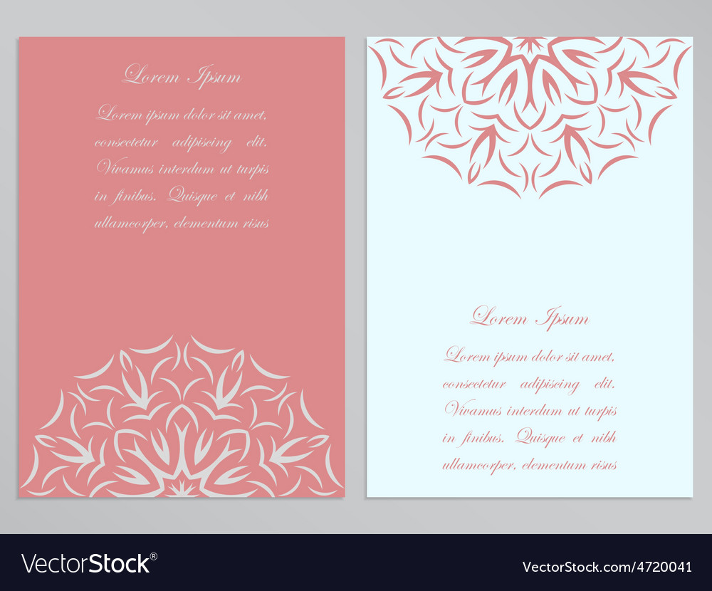 Pink and white flyers with ornate flower pattern vector | Price: 1 Credit (USD $1)