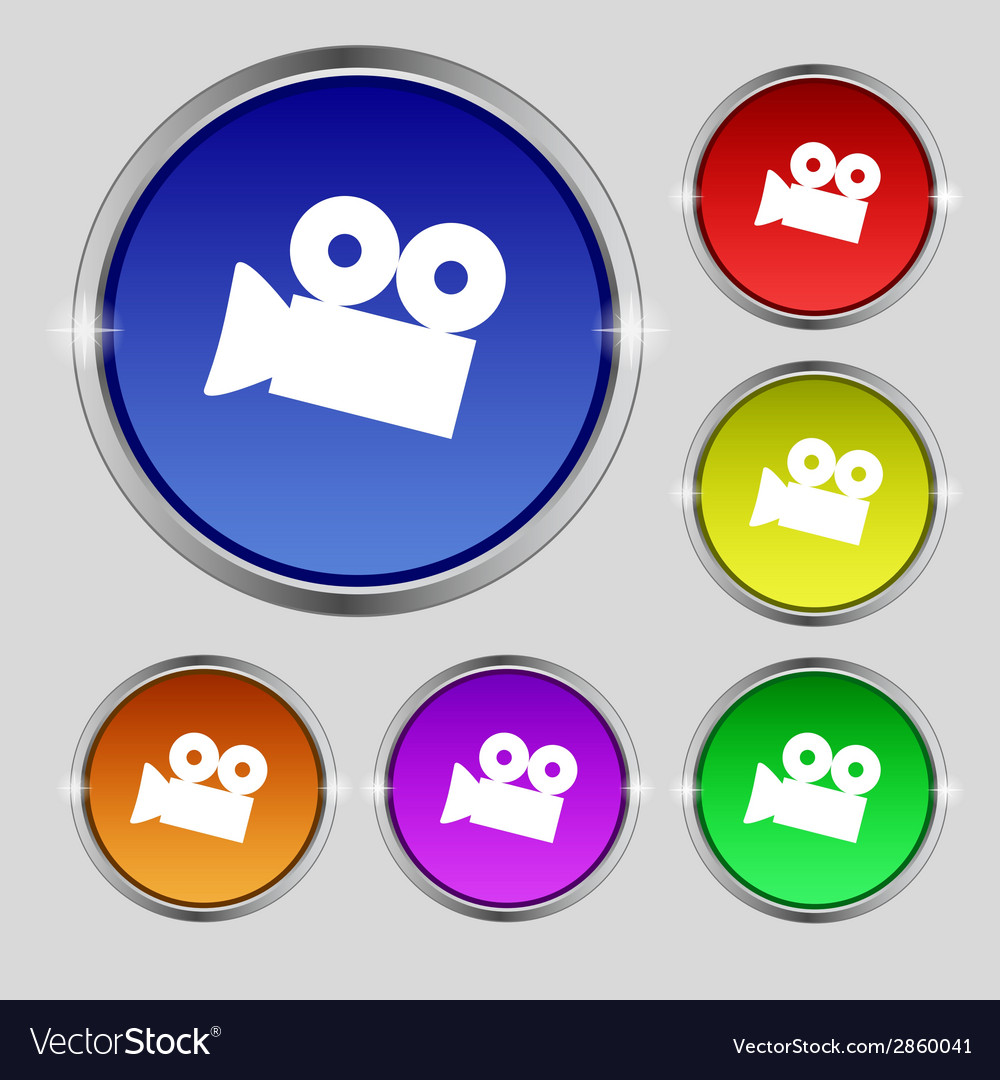 Video camera sign icon content button set vector | Price: 1 Credit (USD $1)