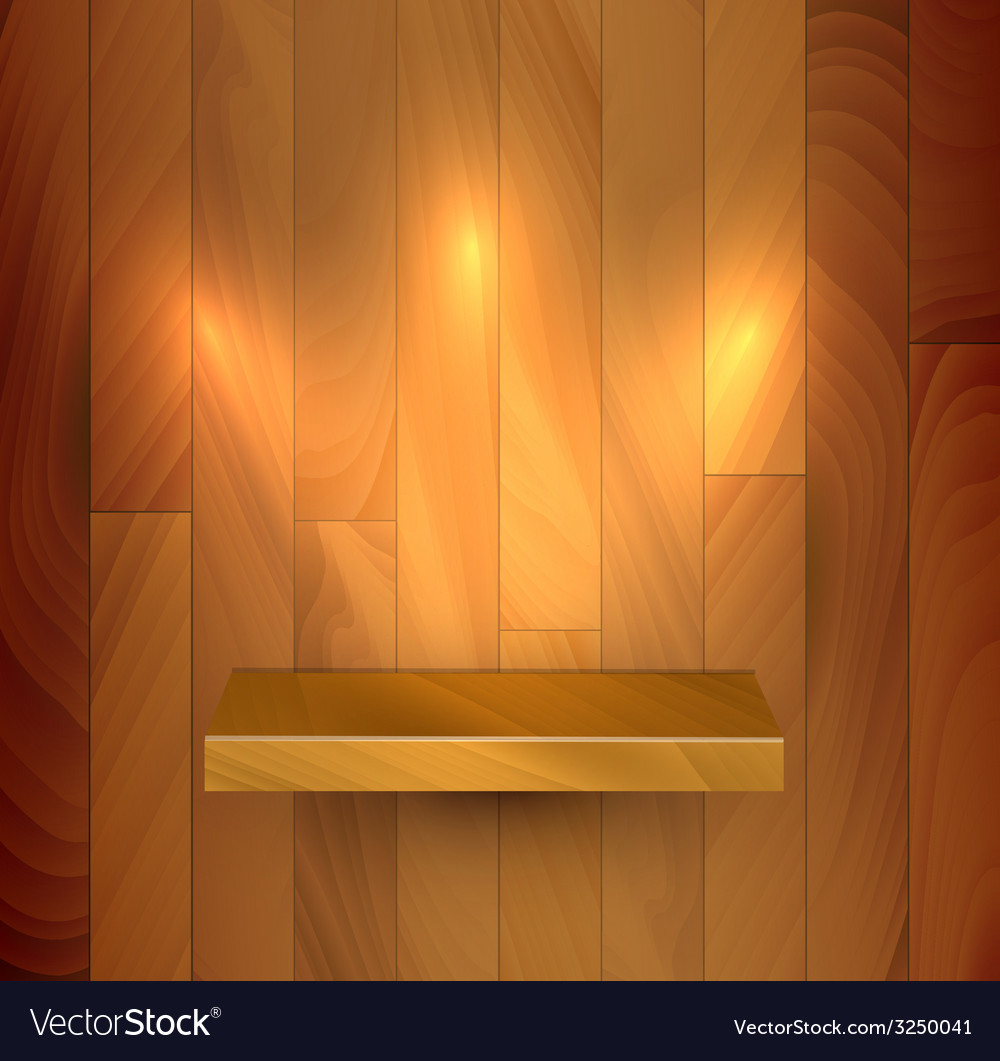 Wooden empty realistic bookshelf vector | Price: 1 Credit (USD $1)