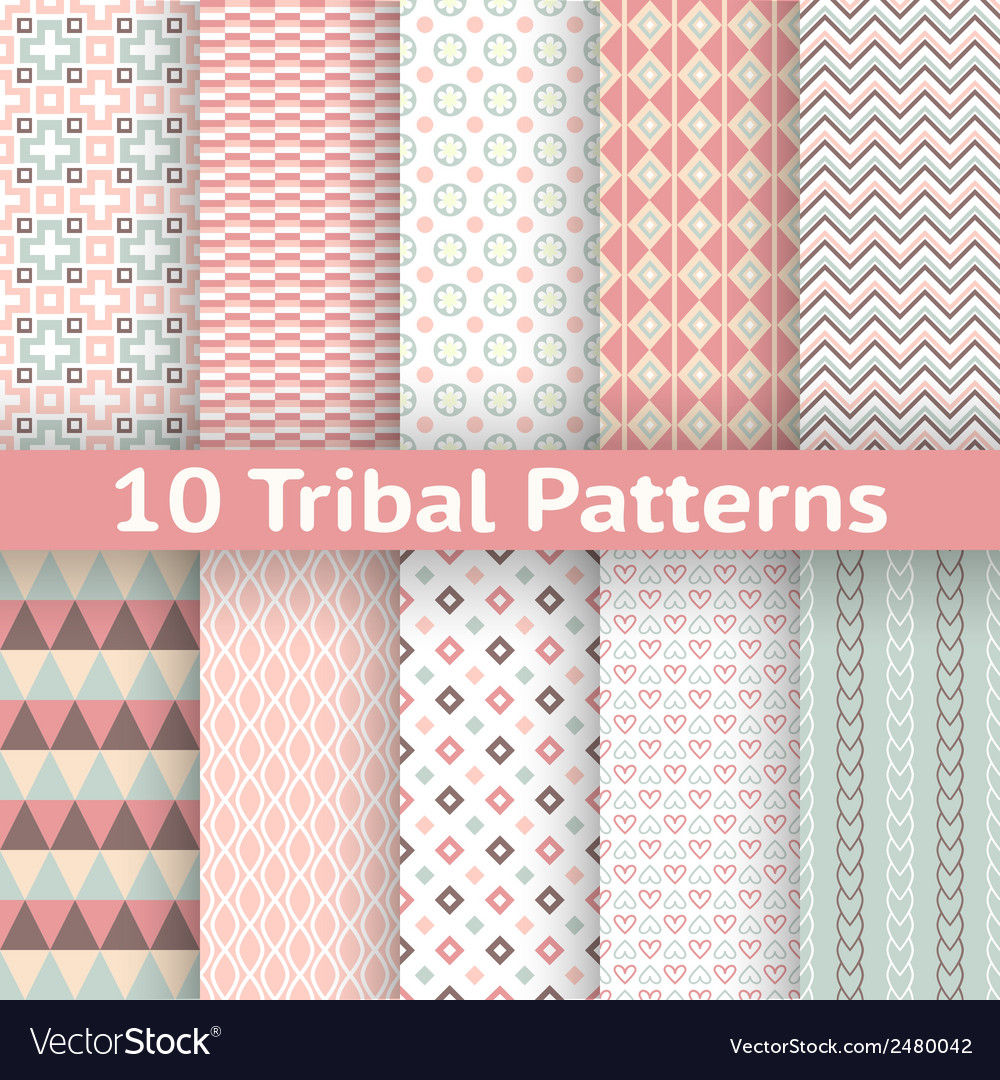 10 tribal seamless patterns tiling endless texture vector   Price: 1 Credit (USD $1)