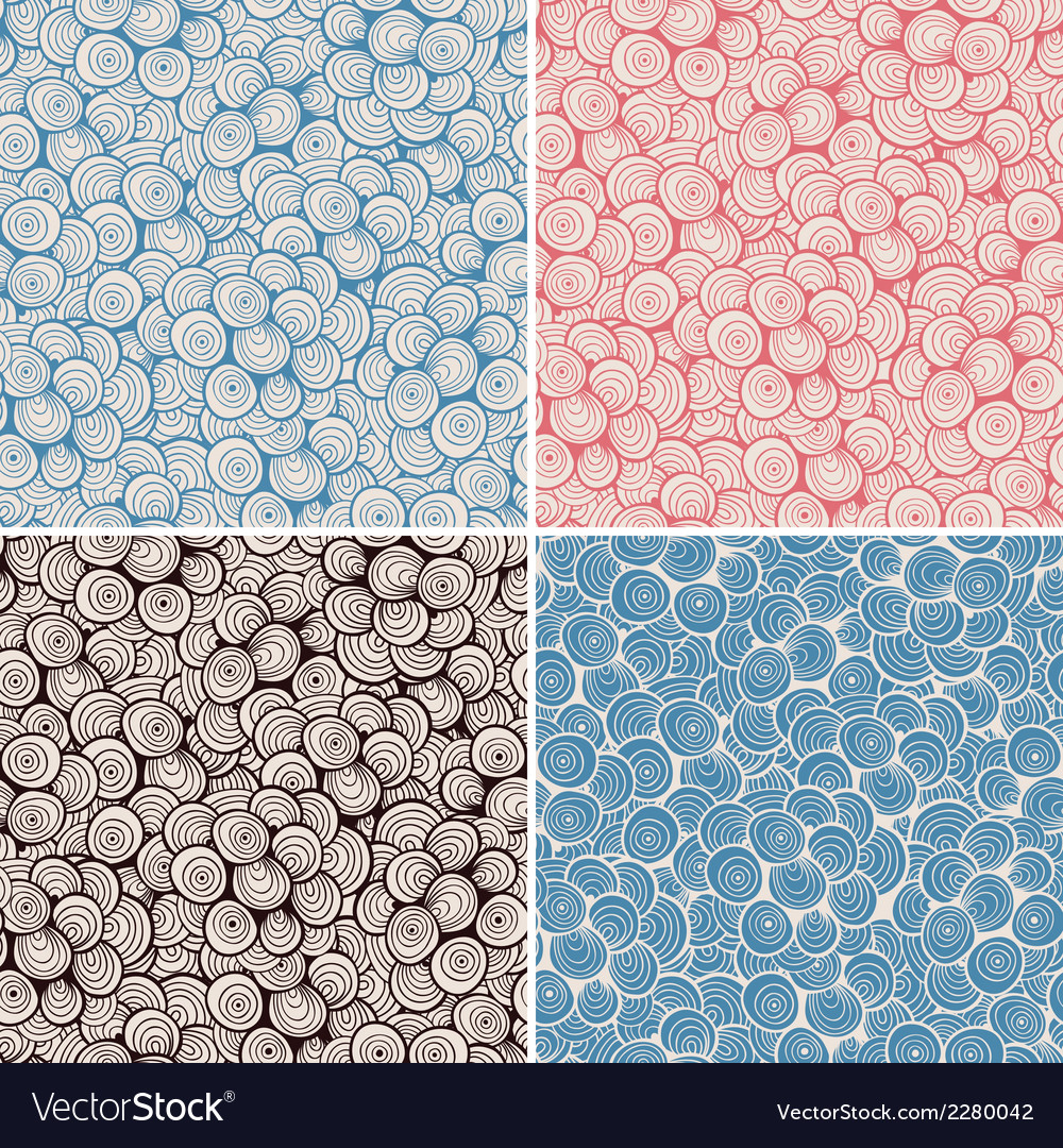4 seamless doodle abstract patterns vector | Price: 1 Credit (USD $1)