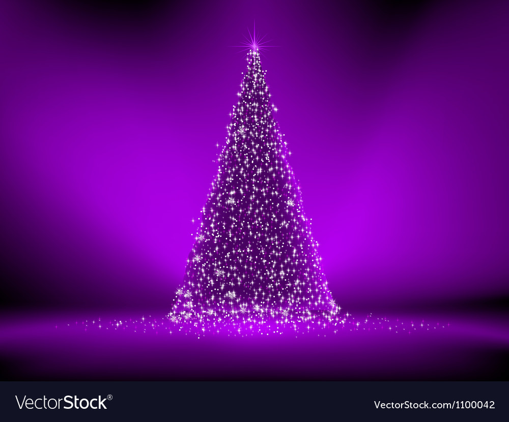 Abstract purple christmas tree on purple eps 8 vector