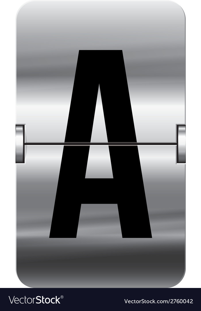 Alphabet silver flipboard letters a vector | Price: 1 Credit (USD $1)
