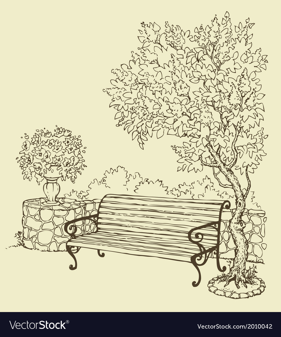 Bench under blooming lilac bush vector | Price: 1 Credit (USD $1)