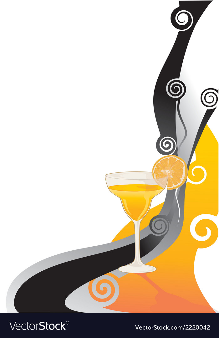 Cocktail orange card vector | Price: 1 Credit (USD $1)