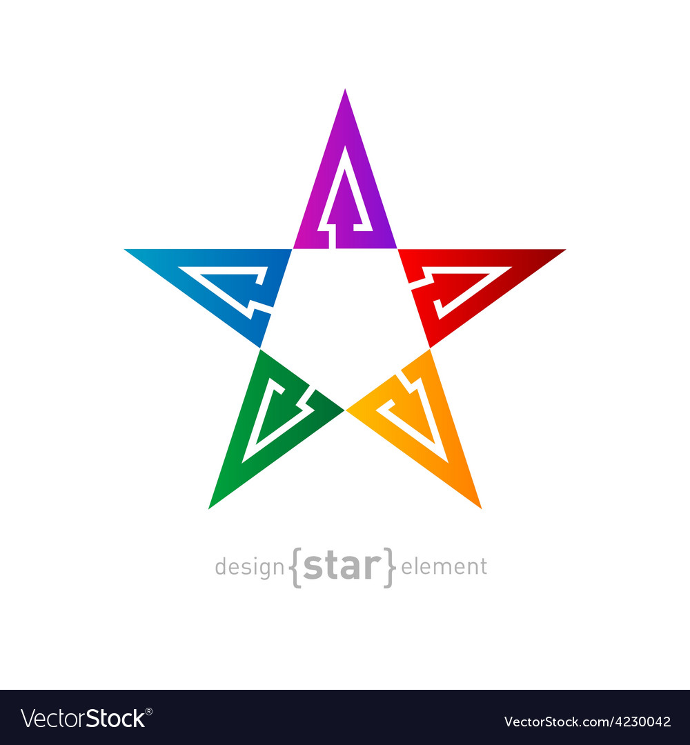 Colorful star abstract design element with arrows vector | Price: 1 Credit (USD $1)