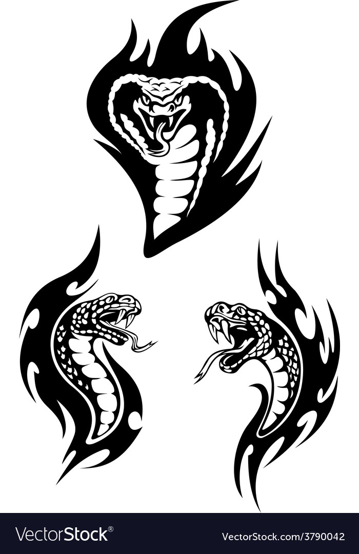 Hissing snakes heads with forked tongues vector | Price: 1 Credit (USD $1)