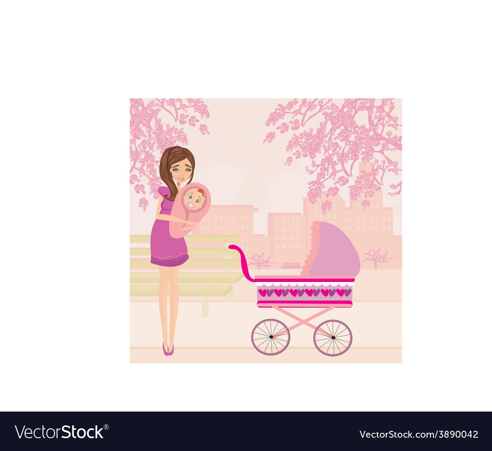 Mother and daughter in the park vector | Price: 1 Credit (USD $1)