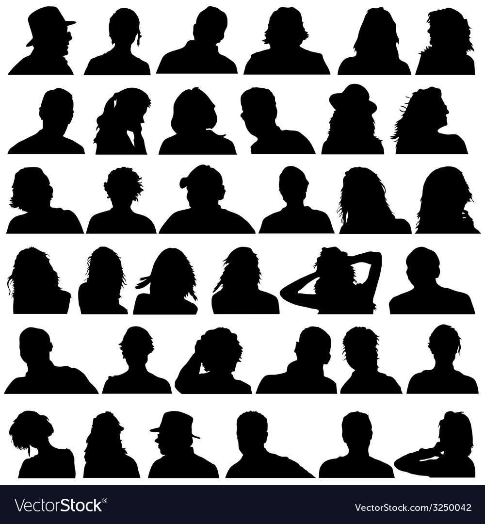 People head black silhouette vector | Price: 1 Credit (USD $1)