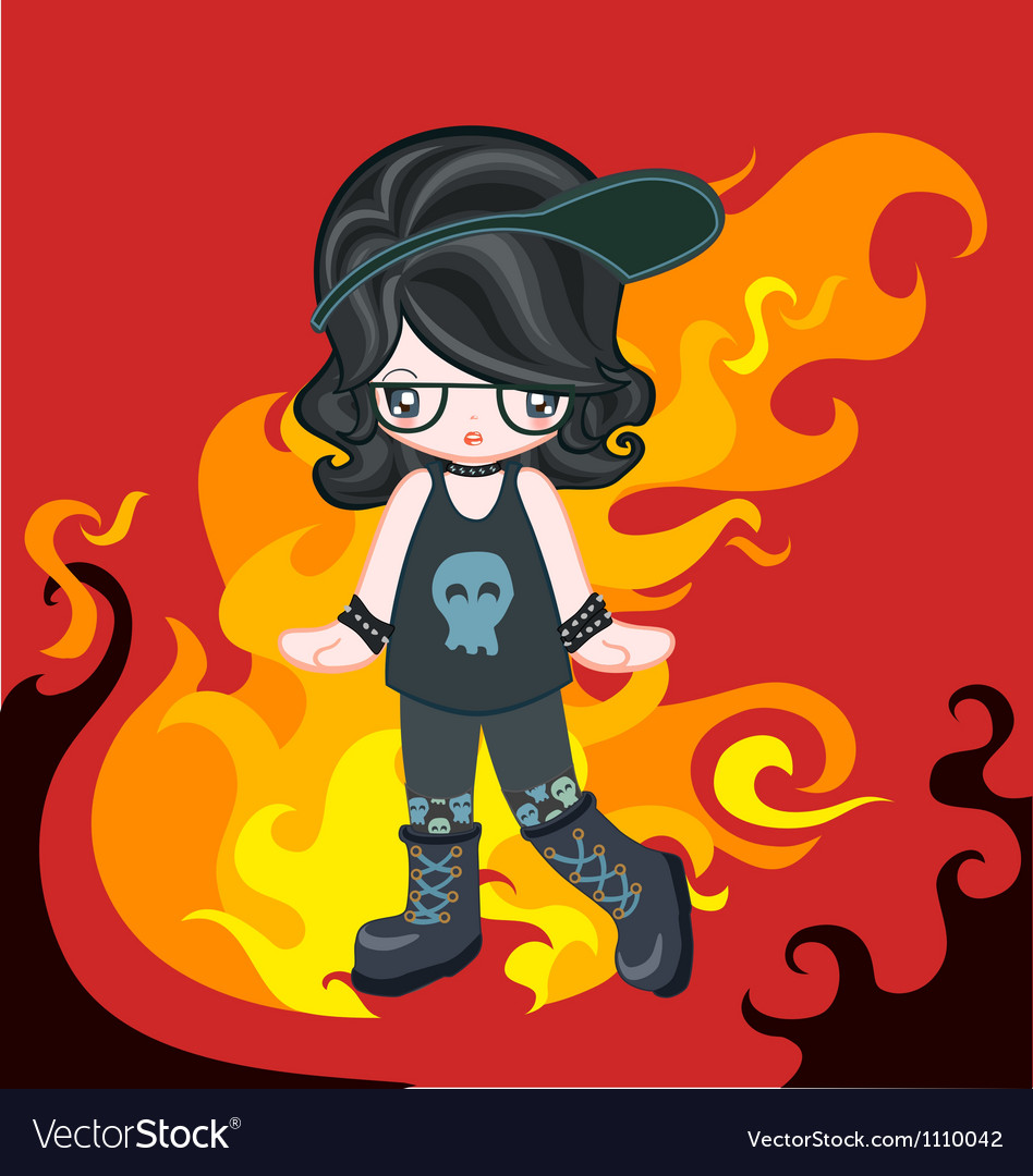 Rock style with fire vector | Price: 1 Credit (USD $1)