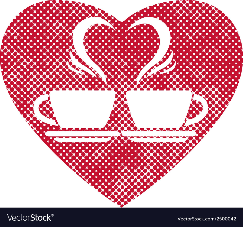 Romantic dating icon with two coffee cups and vector | Price: 1 Credit (USD $1)