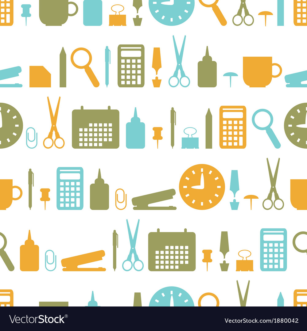Seamless background with office stationery icons vector | Price: 1 Credit (USD $1)