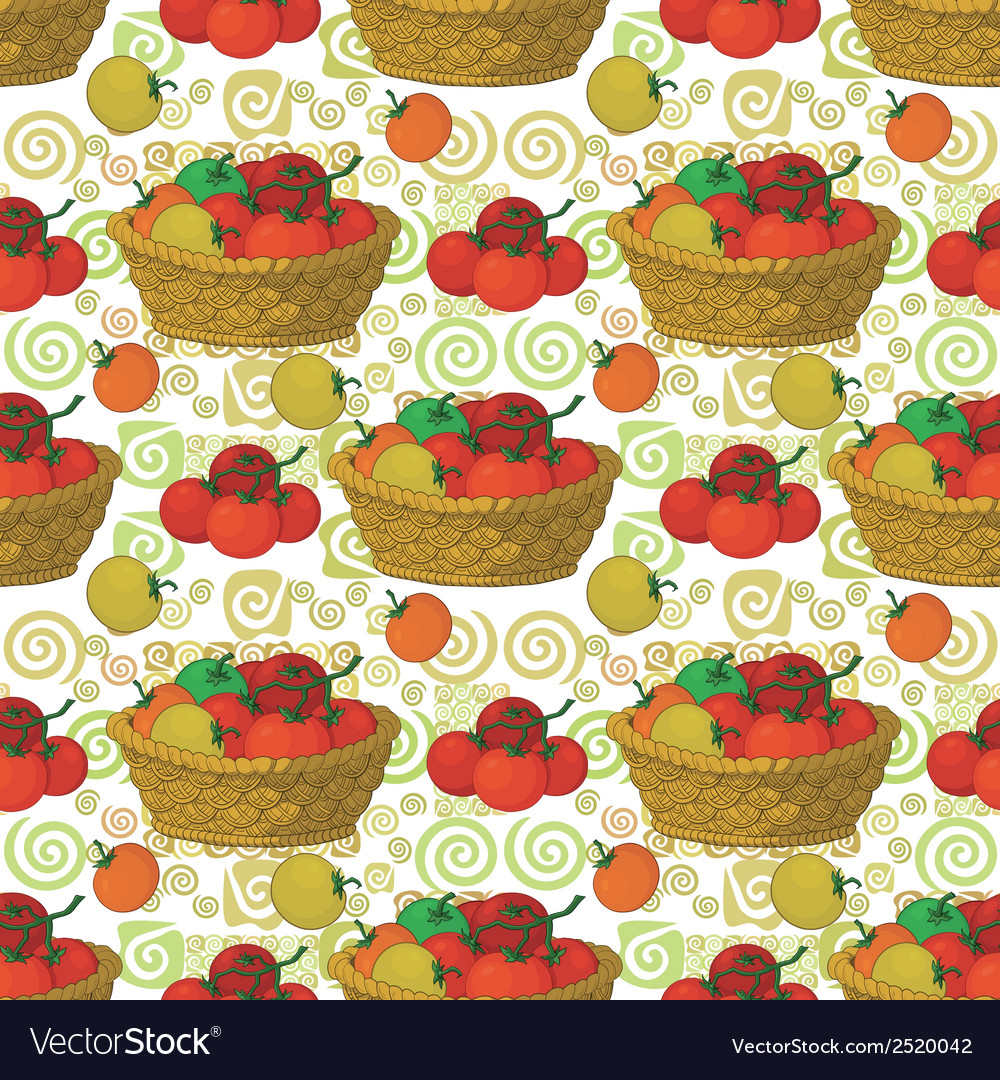 Seamless pattern baskets and tomatoes vector | Price: 1 Credit (USD $1)