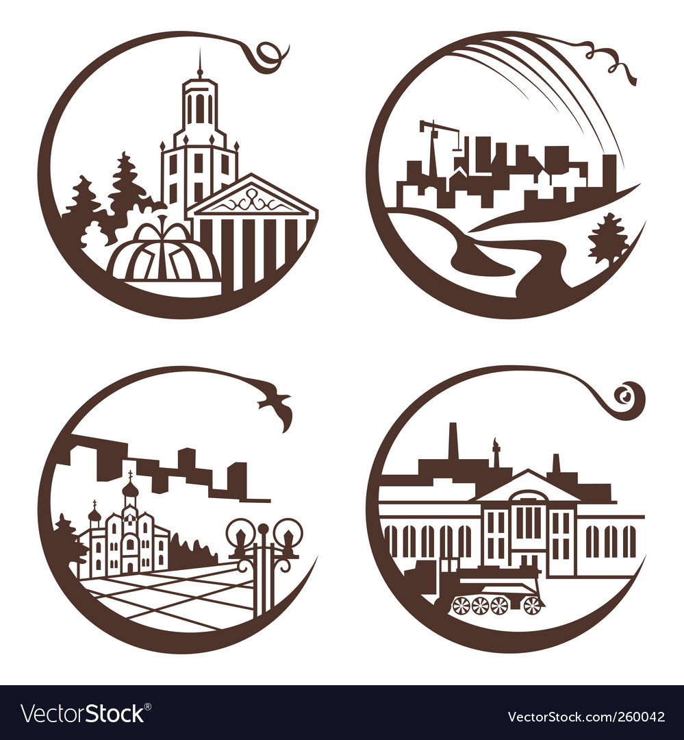 Set of graphic city vector | Price: 1 Credit (USD $1)