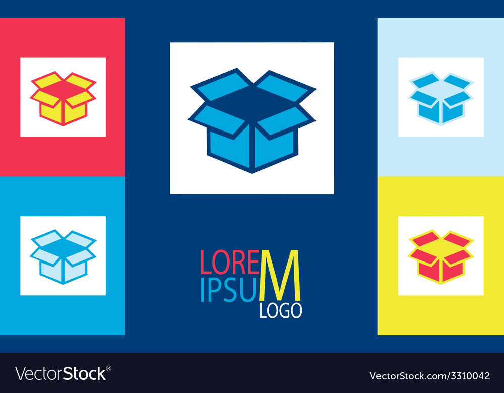 Stickers with the unpacked box logo vector   Price: 1 Credit (USD $1)