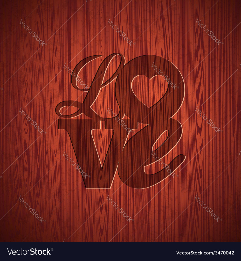 Valentines day with engraved love vector | Price: 1 Credit (USD $1)