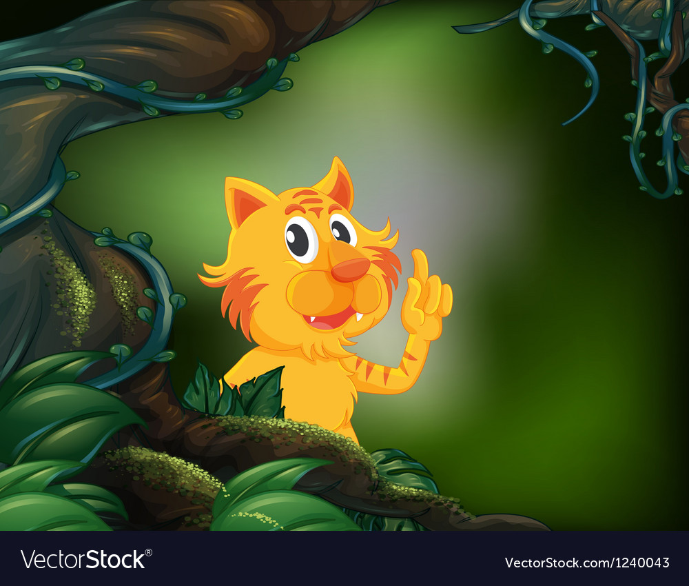 A tiger beside a big tree in the rainforest vector | Price: 1 Credit (USD $1)