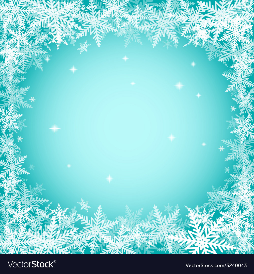Christmas snowflakes on turquoise background vector | Price: 1 Credit (USD $1)