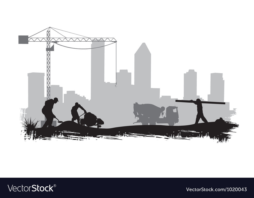 Construction workers on site vector | Price: 1 Credit (USD $1)