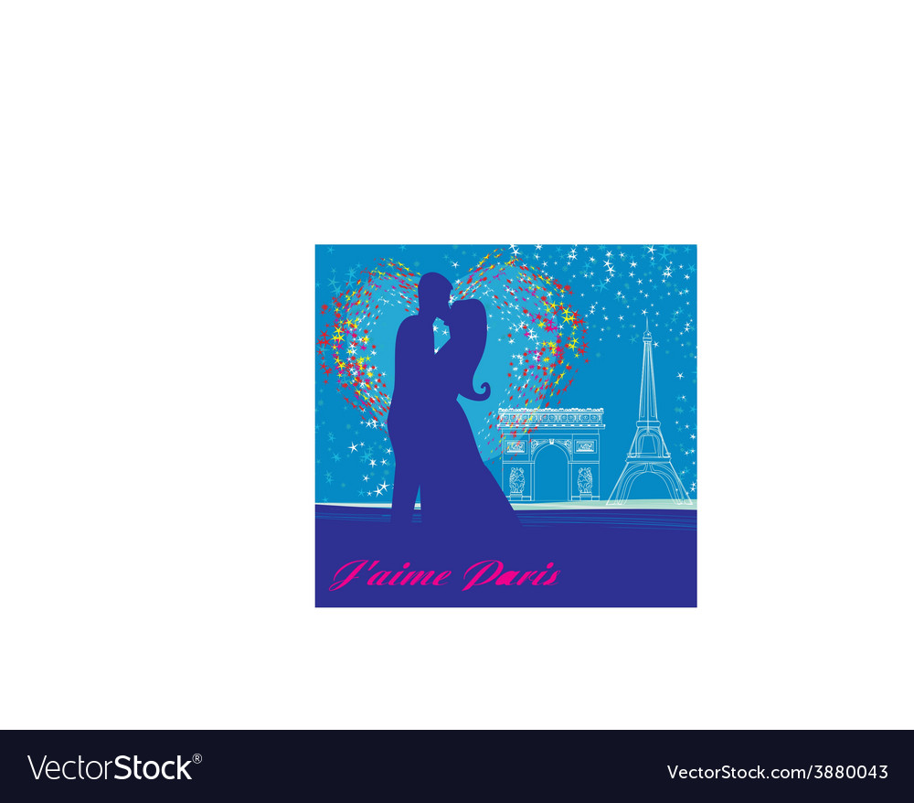 Couple in love in paris vector | Price: 1 Credit (USD $1)