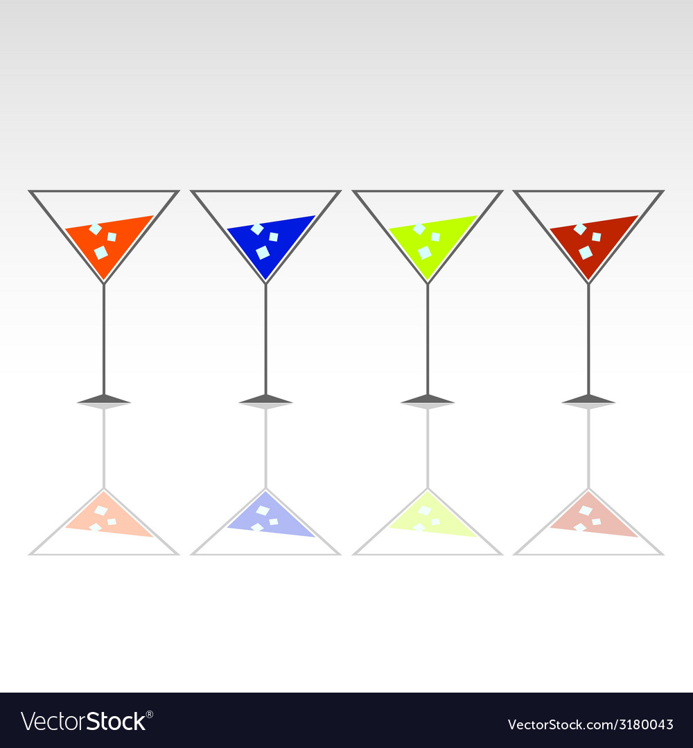Four glasses for drink with ice vector | Price: 1 Credit (USD $1)